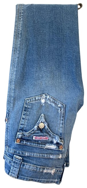 Item - Med Blue Rinse Distressed Cut# H10556 Style#179sd Flare Leg Jeans Size 8 (M, 29, 30)