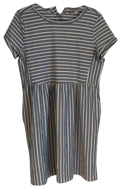 Item - Blue and White Striped Cotton Short Casual Dress Size 8 (M)