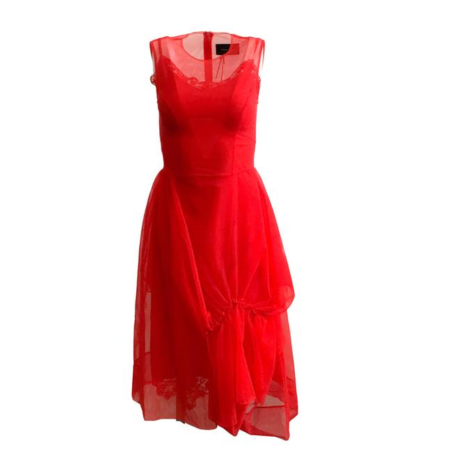 Item - Red Lace-embellished Asymmetric Tulle Formal Dress Size 2 (XS)
