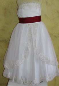 Alfred Angelo White / Claret Alfred Angelo 6616 Flower Girl Dress Size 6x - White & Claret A15-11 Dress