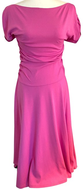 Item - Pink Ruched Mid-length Cocktail Dress Size 8 (M)