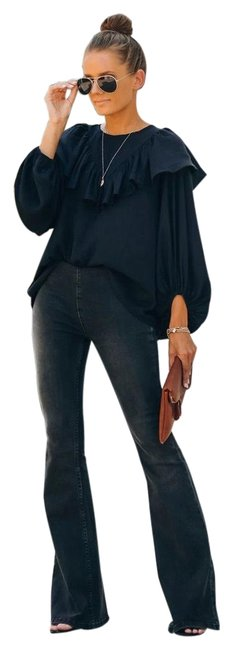 Item - Black Medium Wash Wide Flare Leg Jeans Size 8 (M, 29, 30)
