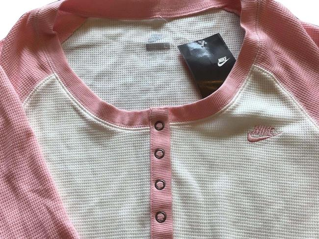 Item - Off White with Pink 3/4 Snap Shirt Activewear Top Size 12 (L)