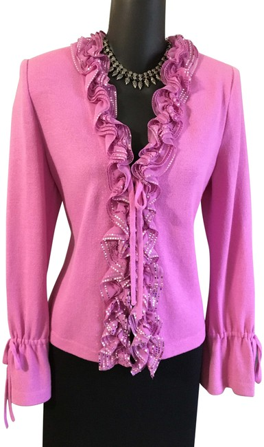 Item - Lavender Purple Evening Knit Jacket Ruffle Suit Blazer Size 2 (XS)