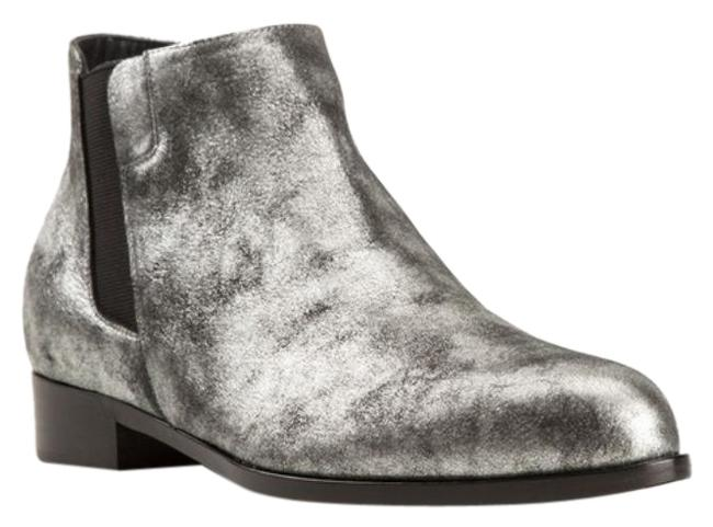 Item - Silver Black Distressed Leather Ankle Boots/Booties Size EU 36 (Approx. US 6) Regular (M, B)