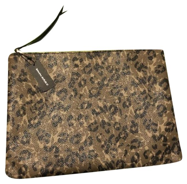 Item - Leopard Multi Green and Tan Coated Canvas Clutch
