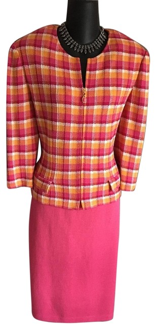 Item - Pink Yellow Collection Knit Jacket Skirt Suit Size 14 (L)