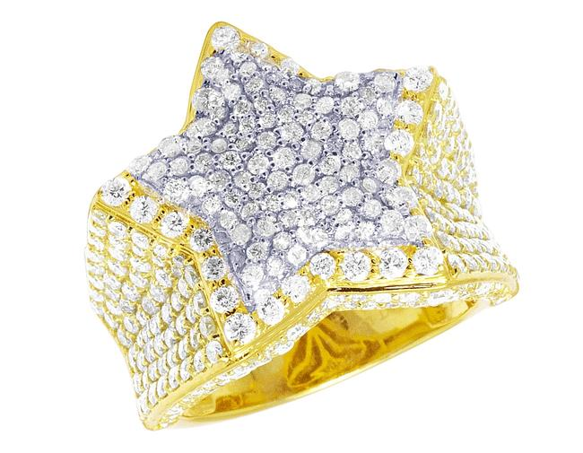 Item - 10k Two-tone Men's Real Diamond Star Pinky 4.55 Ct 22mm Size 10 Ring
