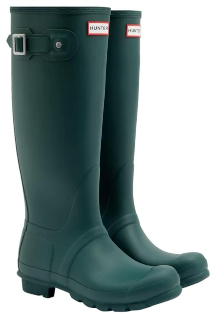 Hunter Green Silver Tall Rain Rainboot Wellington Matte Wellies Boots/Booties Size US 8 Regular (M, B) Hunter Green Silver Tall Rain Rainboot Wellington Matte Wellies Boots/Booties Size US 8 Regular (M, B) Image 1