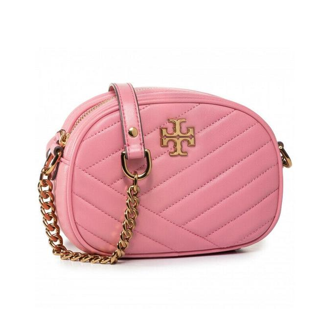 Item - Kira Chevron Small Quilted Camera City Pink Lambskin Leather Cross Body Bag
