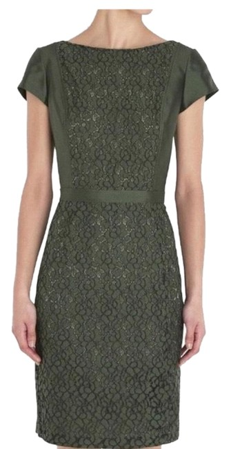 Item - Green Mariana Lace Sheath Mid-length Cocktail Dress Size 4 (S)