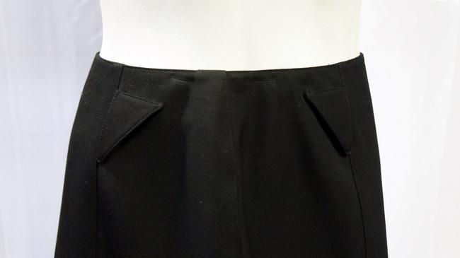 Thierry Mugler Wool Pencil A-line Straight Zip 40 France 8 M Skirt Black