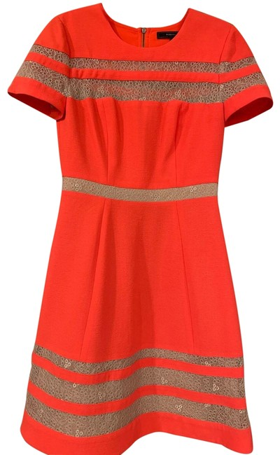 Item - Red with Beige Lace Inserts. Maxazria Mid-length Work/Office Dress Size 2 (XS)