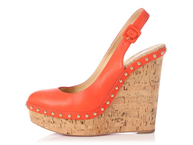 Item - Red Leather and Cork Studded Slingback Wedges Size EU 39 (Approx. US 9) Regular (M, B)