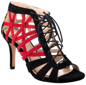 Pour La Victoire Heel Print black red animal leopard Sandals