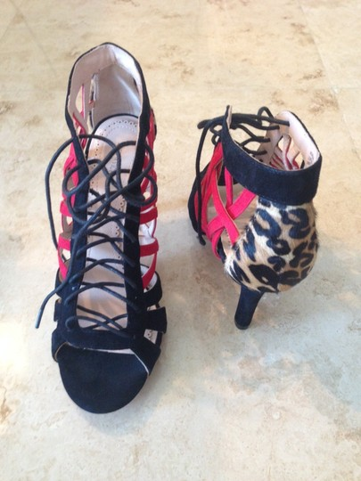 Pour La Victoire Heel Print Textured Strappy Ankle black red animal leopard Sandals