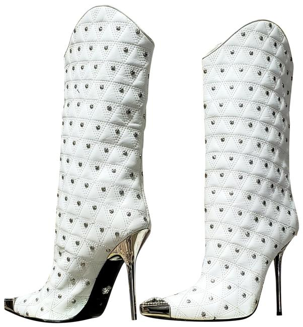 Item - White L Fall/2013 L# 1 New Leather Studded Western Stiletto Boots/Booties Size US 10 Regular (M, B)