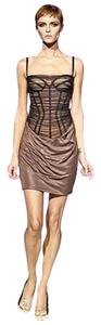 Versace New Couture Black Corset Bustier Silk Tulle Mesh Spring 2007 Runway 44 8 M Dress