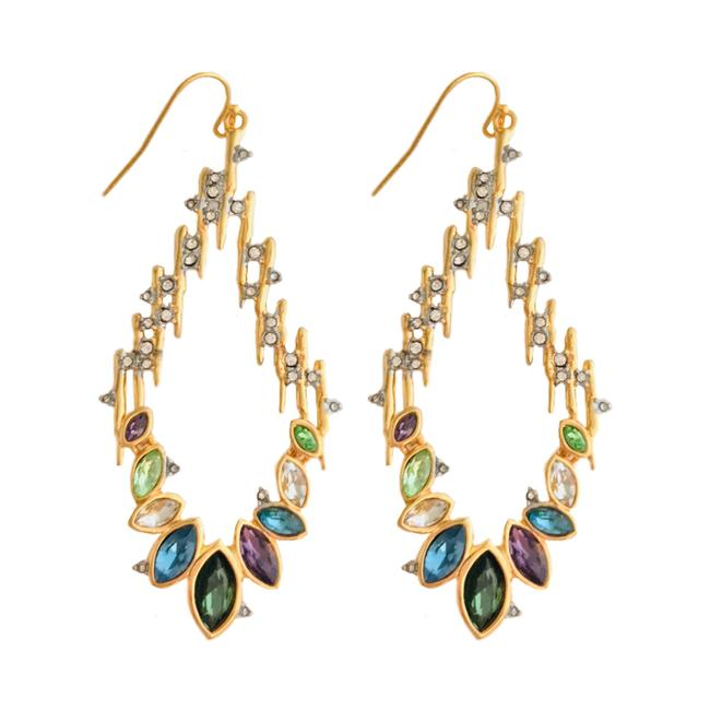 Item - Gold Navette Crystal Spiked Wire Earrings