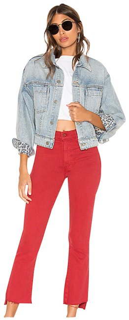 Item - Red Distressed Insider Crop Step Fray In Hot Rod Capri/Cropped Jeans Size 12 (L, 32, 33)