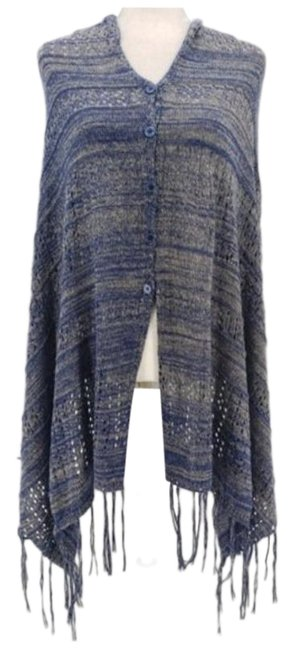 Item - Blue Gold Knit Sweater Poncho/Cape Size OS (one size)