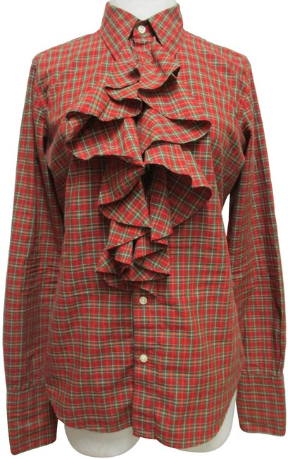 Item - Red Green White Yellow Vintage Plaid Ruffle Blouse Button-down Top Size 10 (M)