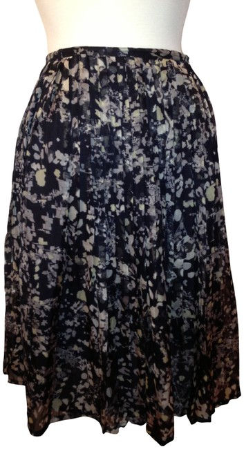 Calvin Klein Skirt navy & shades of dove grey abstract mini floral