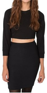 American Apparel Comfortable Stretchy Structured Chic Mini Skirt Black