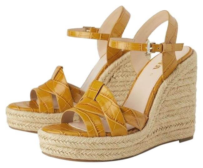Item - Yellow Animal Phyton Print Embossed Color 10/41 New. Wedges Size US 10 Regular (M, B)