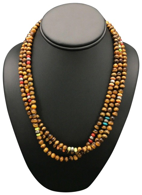 Item - Brown Silver Native American Sterling Tigers Eye Turquoise 19 2616 Necklace