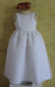 White Rosebud Flower Girl Dress #5109 - Size 2 - White A15-13 Dress