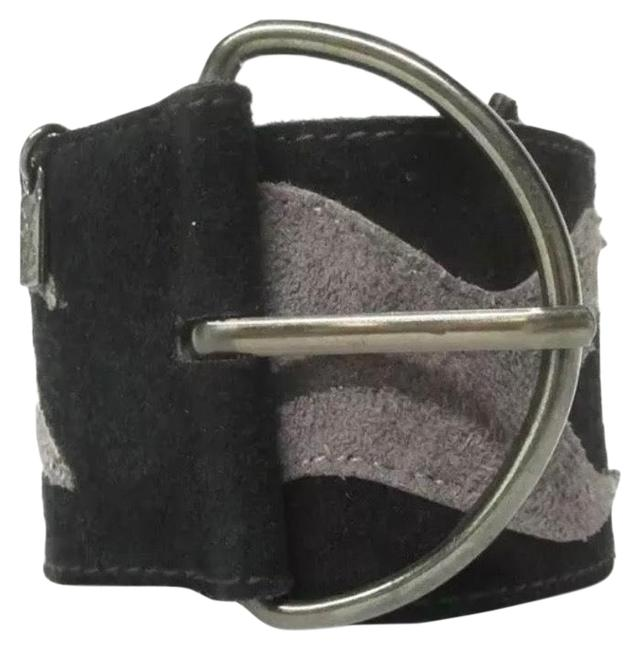 Item - Black/Gray Wide Sueded Leather Belt
