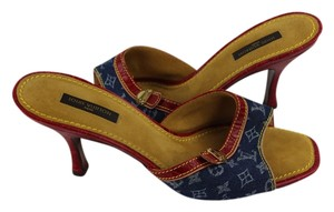 Louis Vuitton Denim Monogram and Red Croc Embossed Mules