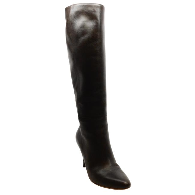 Item - Dark Brown Leather with Patent Heel Boots/Booties Size EU 37 (Approx. US 7) Regular (M, B)