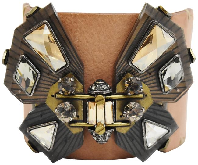 Lanvin Tan & Brass Leather Crystal Butterfly Bracelet Lanvin Tan & Brass Leather Crystal Butterfly Bracelet Image 1