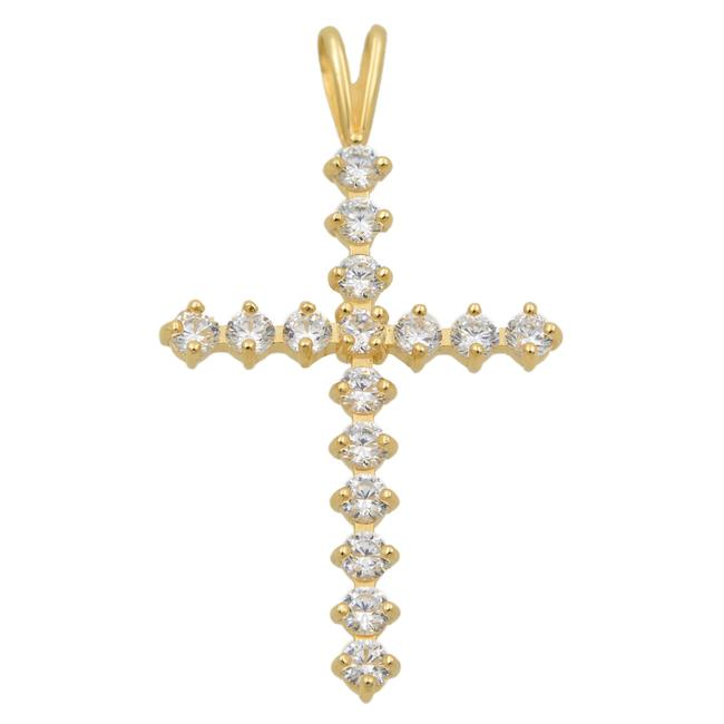 Item - 14k Yellow Gold Ladies Cz Medium Cross Pendant Necklace