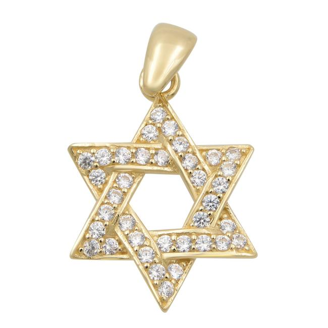 Item - 14k Yellow Gold Cubic Zirconia Star Of David Pendant Necklace