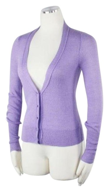 Item - Purple Fine Knit High Low V Neck Rhinestone Buttons Long Sleeves Hip C Cardigan Size OS (one size)