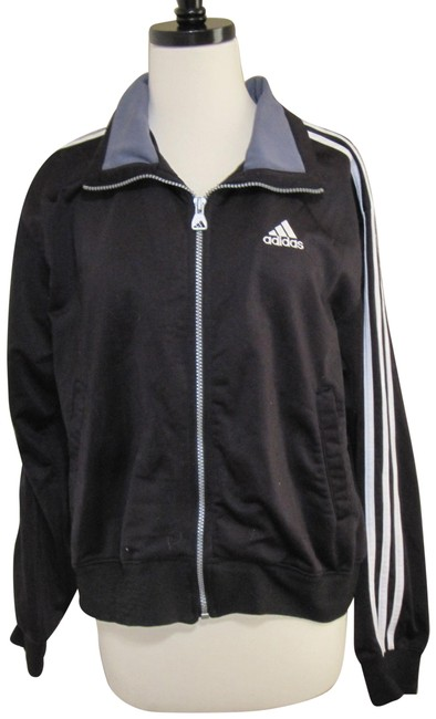 Item - Black Zip Up with White Stripes Activewear Outerwear Size 10 (M)