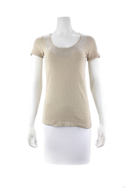 Item - Tan Beaded Scoop Neck Small Tee Shirt Size 4 (S)
