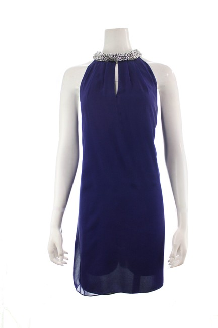 Item - Blue Lainey Embellished Silk Mid-length Short Casual Dress Size 10 (M)