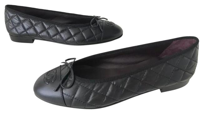 Item - Black Leather Quilted Cap Toe Ballet Ballerina Flats Size EU 40.5 (Approx. US 10.5) Regular (M, B)