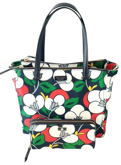 Kate Spade Floral Dawn Breezy Purse and Matching Wallet Multicolor Nylon Tote Kate Spade Floral Dawn Breezy Purse and Matching Wallet Multicolor Nylon Tote Image 1