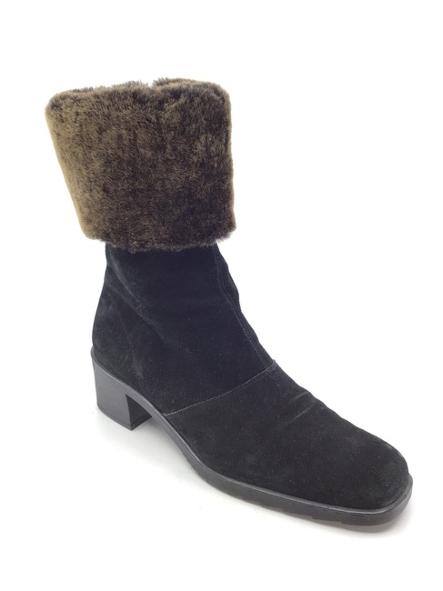 Item - Black/ Brown Suede Ankle with Shearling Trim Boots/Booties Size US 7 Regular (M, B)