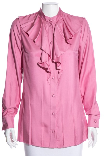 Item - Pink Silk Button-up Blouse Size 8 (M)