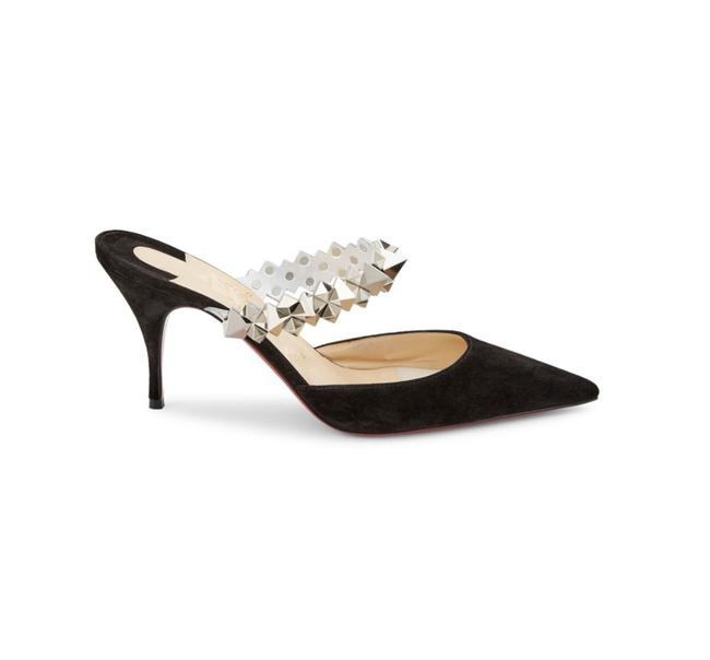 Item - Black Planet Choc 80mm Studded Silver Suede Pointed Toe Heels D014 Mules/Slides Size EU 37 (Approx. US 7) Regular (M, B)
