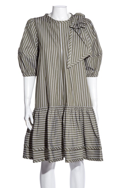 Item - Multicolor White & Olive Green Striped Short Cocktail Dress Size 4 (S)