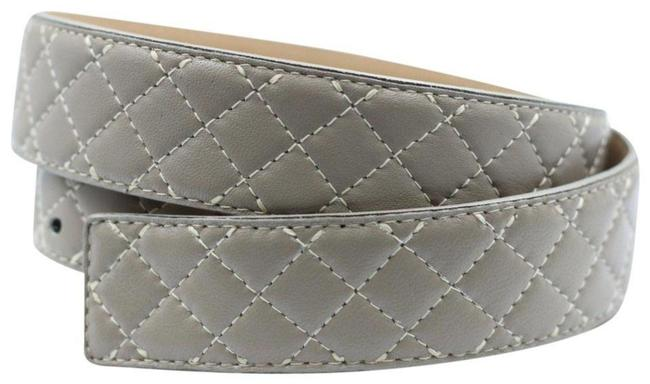 Item - Gray L 1.5″ Leather Quilted Waist Large Belt
