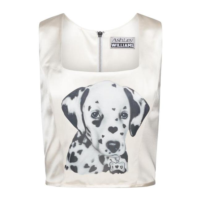 Item - White I Love You Corset Tank Top/Cami Size 4 (S)