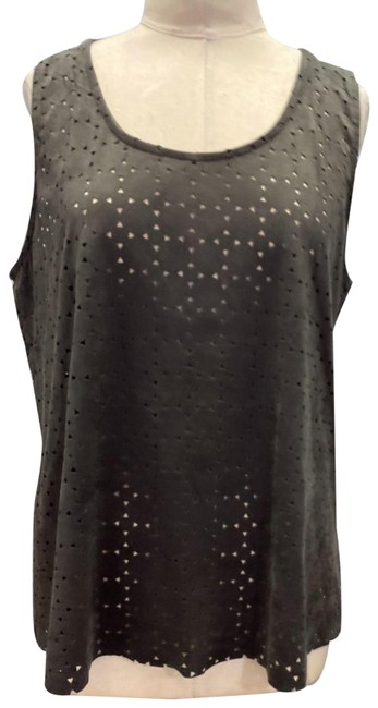 Item - Gray Charcoal Sleeveless In A Soft and Rich Faux Suede Lrg Tank Top/Cami Size 12 (L)